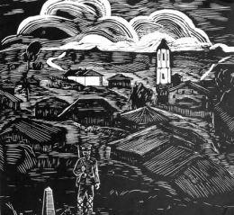 Граница,инв.№374 Г; гравюра на дърво; 30,5х30,5; подпис долу дясно Никола Златевъ '36; дарение от автора;Никола Кръстев Златев-роден на 12.12.1907 г. в с.Караш,обл.ВрацалПочинал 1989 г./BORDER,woodcut; 30,5x30,5; signed bottom right Nikola Zlateva  - ХГ Проф. Илия Петров - Разград