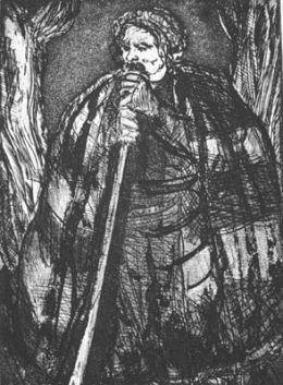 """Ивайло-из ц.""""Бърдоквата"""",инв.№84,см.техника;43х31,5;подпис долу дясно З.Йончев`75;откупена от ОХИ """"Лудогорие`75"""";Зафир Христов Йончев-роден на 10.02.1924 г.в Самоков.Починал 2006 г./IVAILO-FROM THE CYCLE BARDOKVATA-mixed technique;43x31,5; - ХГ Проф. Илия Петров - Разград"""