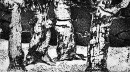 """Гори, из ц.""""Бърдоквата"""", инв.№85,см.техника;23х42,подпис долу дясно З.Йончев`75;откупена от ОХИ """"Лудогорие`75"""";Зафир Христов Йончев-роден на 10.02.1924 г.в Самоков.Починал 2006 г./WOODS-FROM THE CYCLE `BARDOKVATA`-mixed technique;23x42;sig - ХГ Проф. Илия Петров - Разград"""
