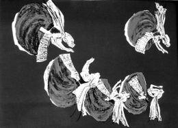 """Танц,инв.№78 Г;цветна литография;55х40;подпис долу дясно Ж.Костуркова 1975;откупена от ОХИ """"Лудогорие '75;Жана (Иванка) Пенчова Костуркова-родена на 01.06.1927 г.в София.Починала 2010г./DANSE,lithography;55x40;signed bottom right J. Kosturkova 1975;pu - ХГ Проф. Илия Петров - Разград"""
