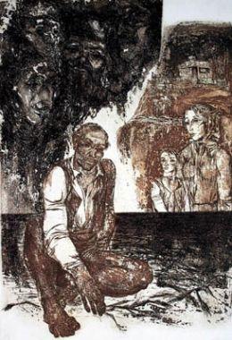 """Живот ли беше - из цикъла ВРЕМЕ -  Инв. № 74 Г; смесена техника; 44х28; подпис долу дясно И. Бочев '77; откупена от ОХИ - Толбухин '77; Иван Бочев - Роден на 12. 10. 1946 година в с. Драганово, В.Търновска област./ WAS IT LIFE - FROM THE CYCLE """"TI - ХГ Проф. Илия Петров - Разград"""