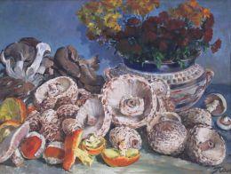 """НАТЮРМОРТ - ГЪБИ"" - Инв № 803; м.б., платно; 60х71,5; Панайот Михайлов Панайотов (1909 - 1986). Завършва (1938) ХА -София./ StILL LIFE  - MUSHROOMS - Inv. N 803; oil colors on canvas; 60x71,5; Panayot Mihailov Panayotov(1909-1986).  - ХГ Проф. Илия Петров - Разград"