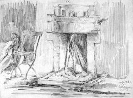 КАМИНА-инв.№149 Г;молив, картон; 23х31; подпис долу дясно 1/I 916 г.; откупена от наследници; Драган Даниилов Йовков-Роден на 27.10.1873 г. в Котел. Починал на 22.08.1948 г. във Варна/FIREPLACE-pencil, cardboard; 23x31;signed bottom right 1/I 916; purchas - ХГ Проф. Илия Петров - Разград